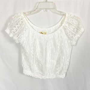 Hollister white lace crop top XS